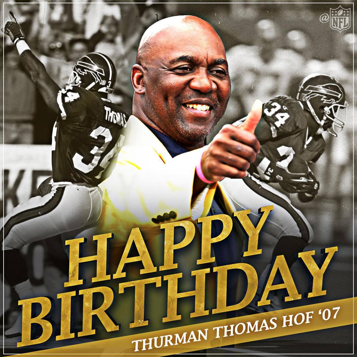 Over 12,000 career rushing yards. And a @ProFootballHOF Golden Jacket.  Happy birthday to @buffalobills legend @thurmanthomas! <br>http://pic.twitter.com/NOvs9kcq4y