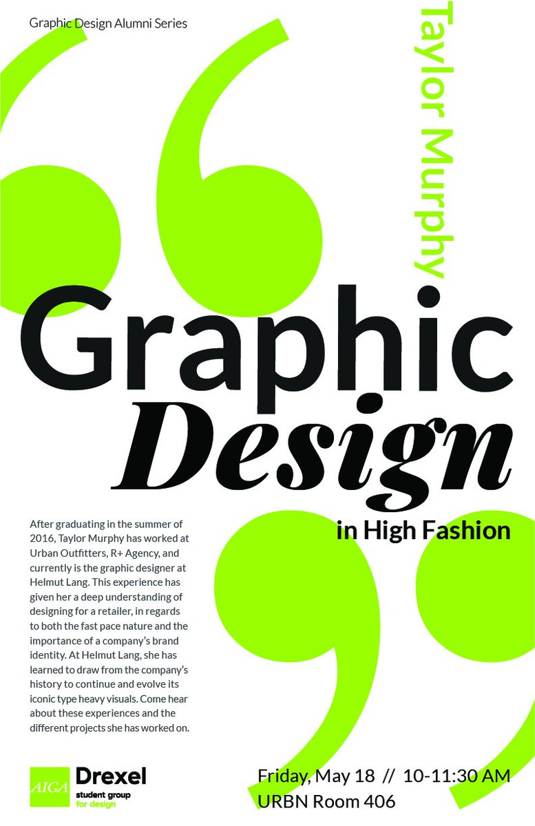 927fb1a75 ... Murphy returns home to share her industry experiences with graphic  design in high fashion. Join Drexel's @AIGAdesign Student Group on May 18  at 10:00 am ...