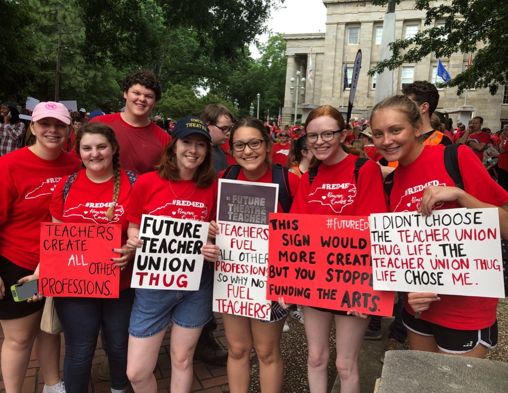 Shout out to the future teachers who are also speaking up today! We appreciate you! #May16 #ItsPersonal #Red4ED #InThisTogether #NCpol #TeamTakeover @ProgTakeover<br>http://pic.twitter.com/6YsTJw7kXl