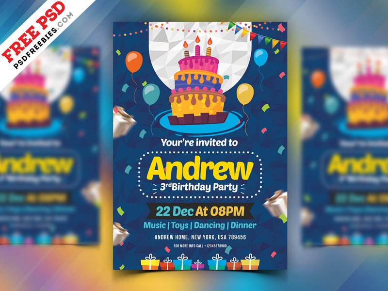 Psdfreebies On Twitter Free Birthday Party Invitation Card