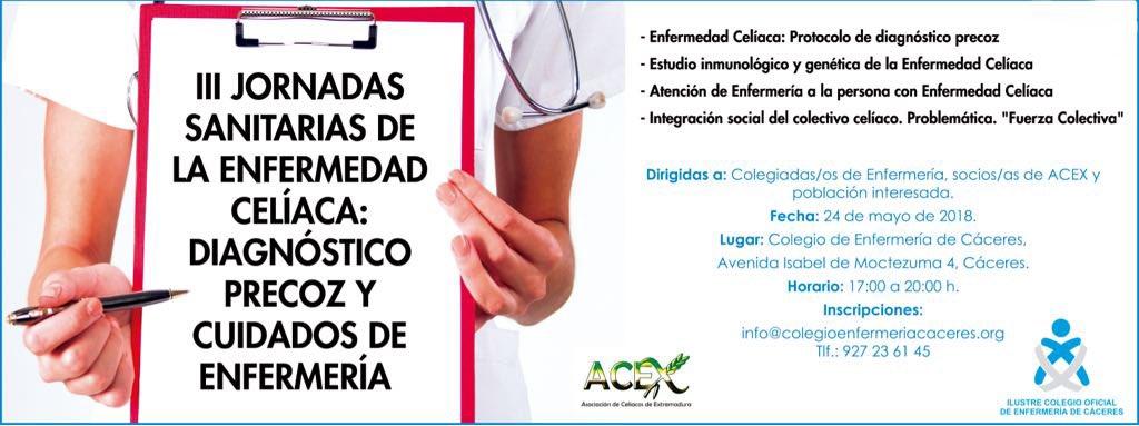 Os animamos a asistir a las III Jornadas Sanitarias de la Enfermedad Celiaca: Diagnóstico precoz y cuidados de enfermería con @CeliacosAcex el próximo día 24 de mayo, en el Colegio. Importante inscripción previa.
