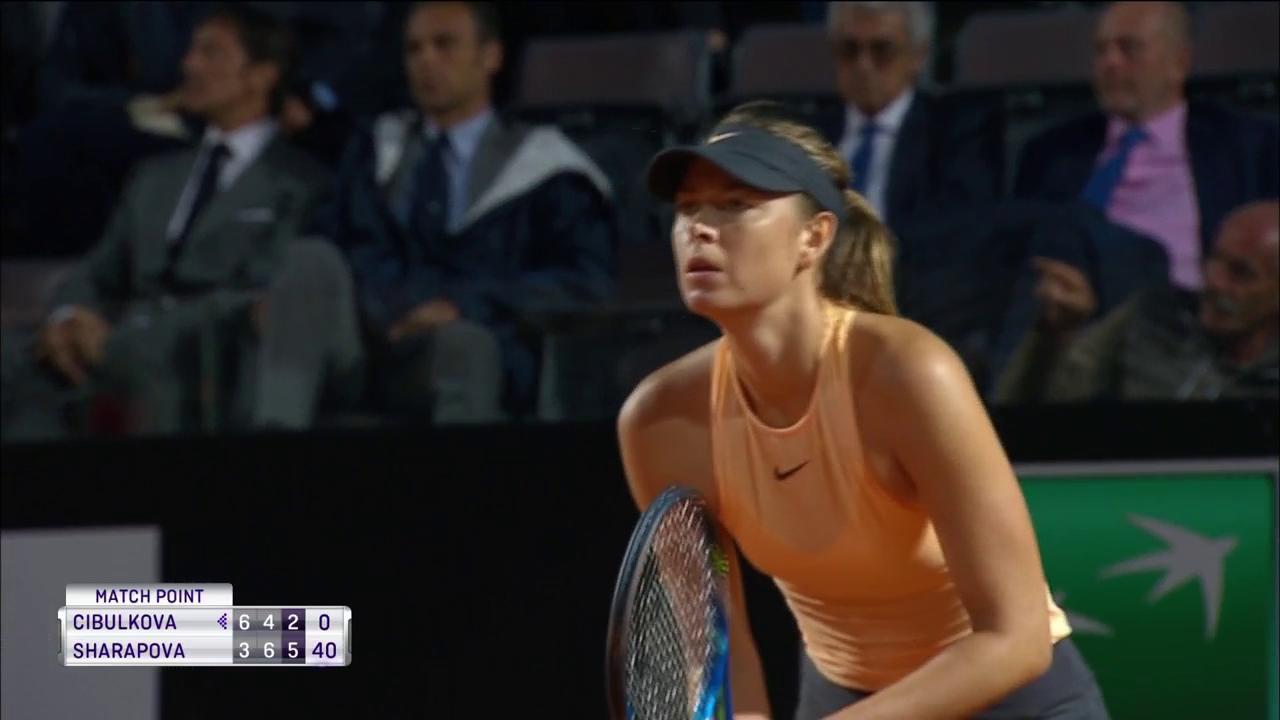 .@MariaSharapova progresses to the @InteBNLdItalia third round!  Defeats Dominika Cibulkova 3-6, 6-4, 6-2! https://t.co/9916vwiDE6