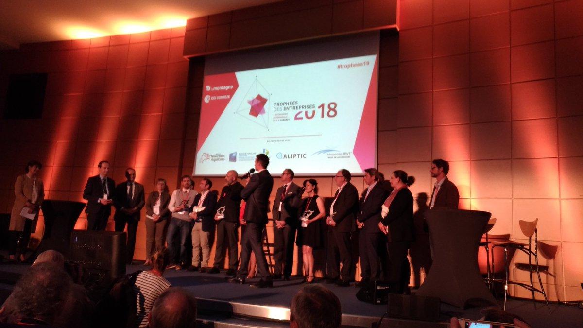 #trophees19 les lauréats de la première édition des trophées des entreprises de la Corrèze sur le podium de la cci de Brive @lamontagne_fr  - FestivalFocus