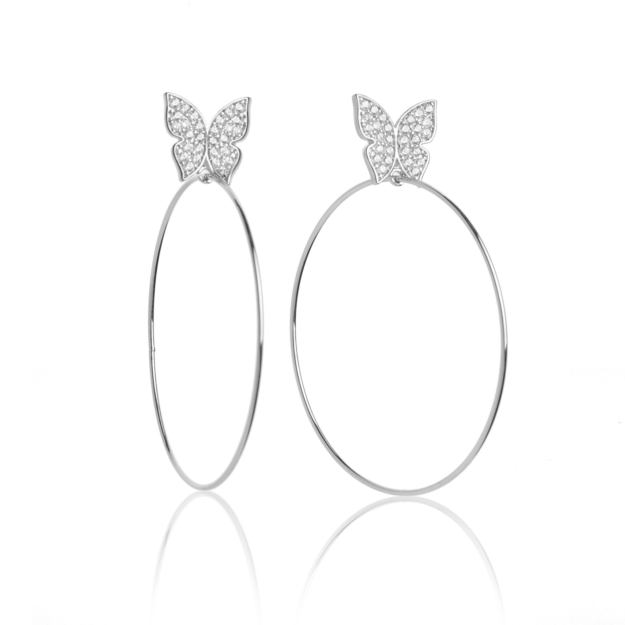 """Evelyn Signature 2"""" & 4"""" White Gold Hoop Earrings - Go to https://t.co/LHUWbOgl6K https://t.co/qicukxI6lZ"""