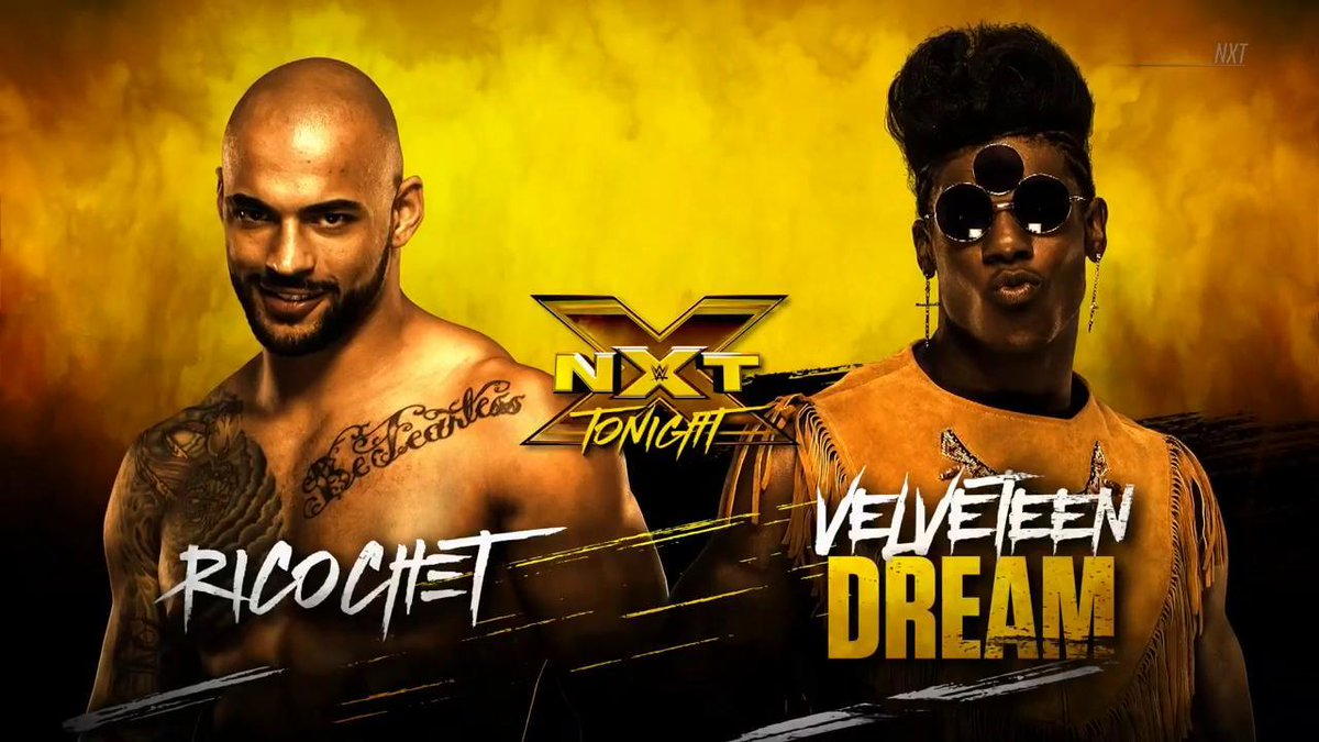 After their heated confrontation, @VelveteenWWE &amp; @KingRicochet are set to go head-to-head TONIGHT on #WWENXT, only on @WWENetwork!<br>http://pic.twitter.com/VxciuzHr7Y