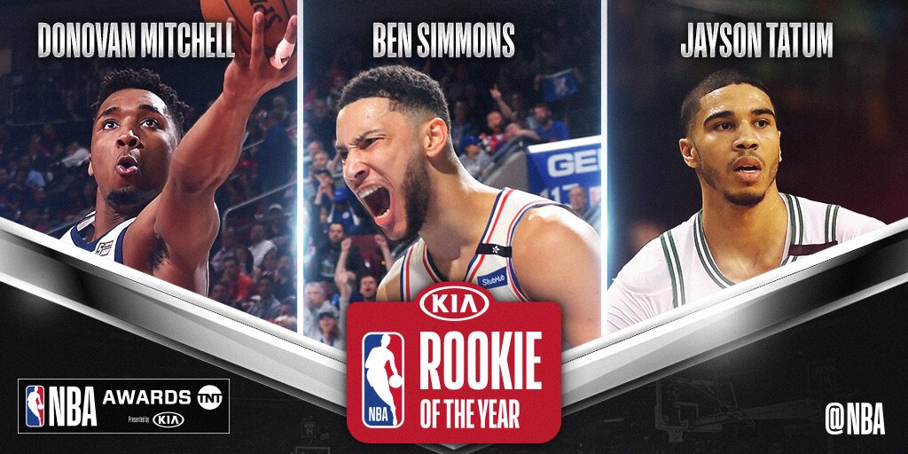 The three finalists for #KiaROY... @spidadmitchell, @BenSimmons25 and @jaytatum0! The 2018 #NBAAwards air 6/25 @NBAonTNT!