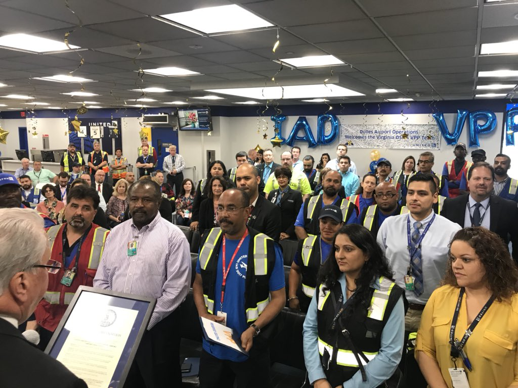 IAD - VPP Star Certification ceremony. This is a MAJOR accomplishment. Great journey Team IAD! Congratulations! @weareunited #beingUnited @UnitedSheryl @OmarIdris707