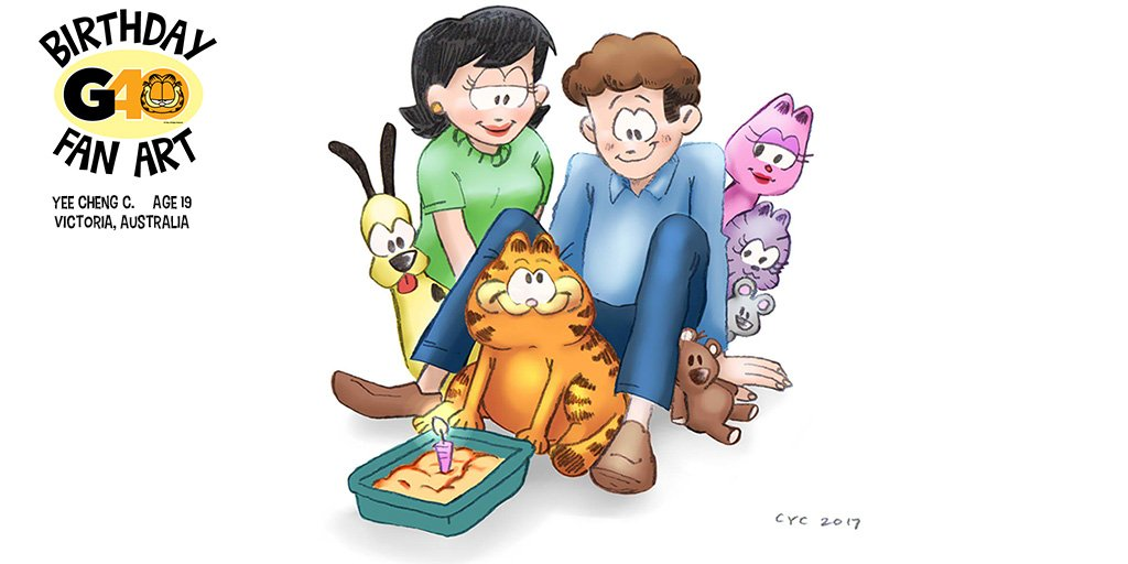 Just one big happy family.  40 Days of Fan Art in celebration of my 40th birthday on June 19th continues with this gem by 19-year-old Yee Cheng C. of Victoria, Australia. (Now THATs a birthday cake!) #G40 #GarfieldFanArt #birthday #CatsOfTwitter