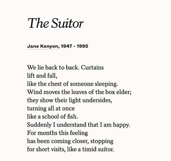 The suitor poem