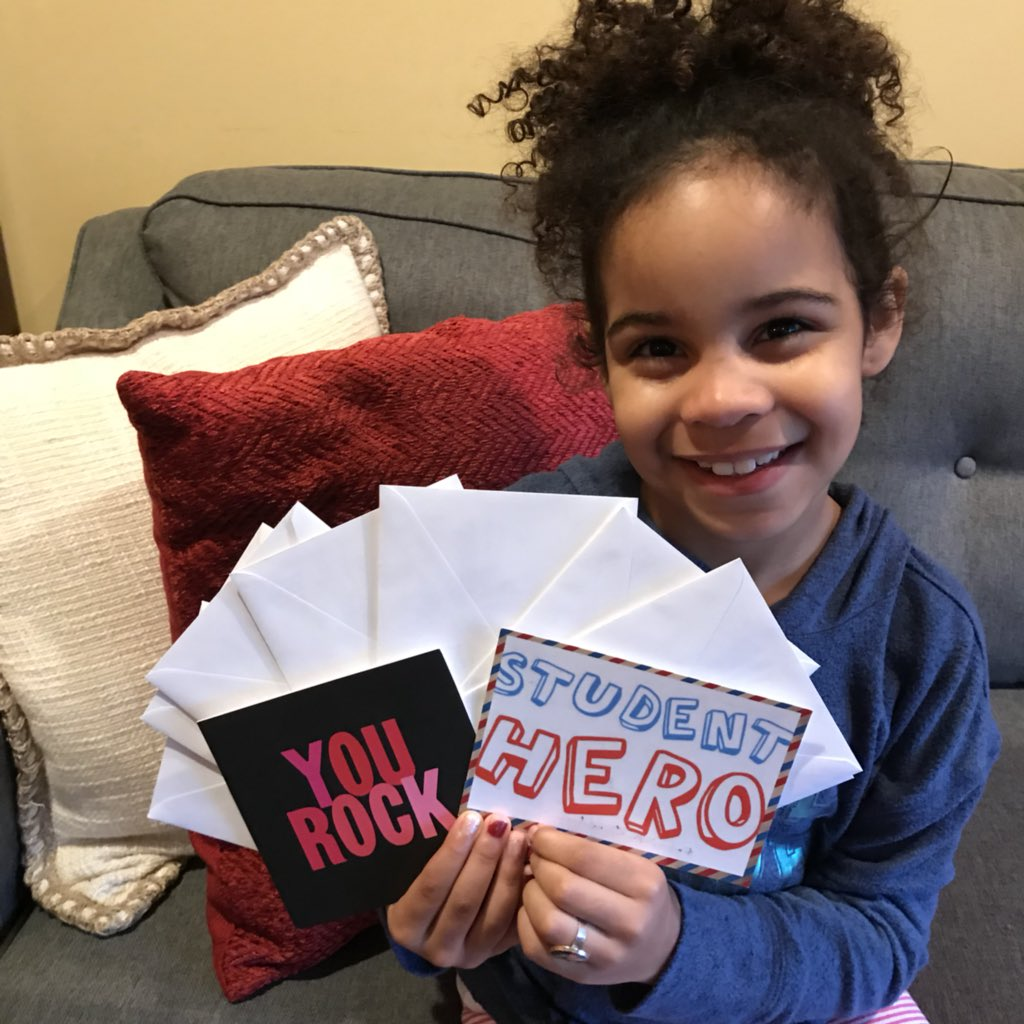 Since the #nationalwalkoutday, I have been writing thank you notes to all the amazing people who have sent books!  I promise I am writing as fast as I can!  Special thanks to the people who sent snail mail to my school!  #goodtrouble  #rhymersarereaders<br>http://pic.twitter.com/N5eOgBE1Cs