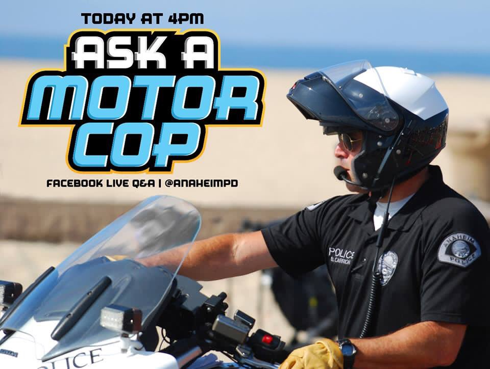 Go to our Facebook live Q&amp;A at 4PM today! To catch Officer Spielman answering more of your traffic questions!   #AskAMotorCop #traffic #safety #collision #accident #citation #motorcycle #bicycle #helmet #anaheimpd<br>http://pic.twitter.com/qwd6VI0xib