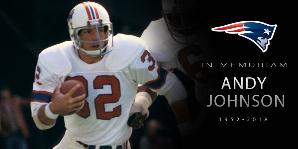 We are deeply saddened to hear the passing of former #Patriots running back Andy Johnson: https://t.co/9ChCJRvez2 https://t.co/bERkJUi7vM