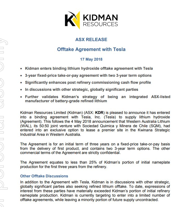 Haplo On Twitter Kidman Resources Kdr Offtake Agreement With