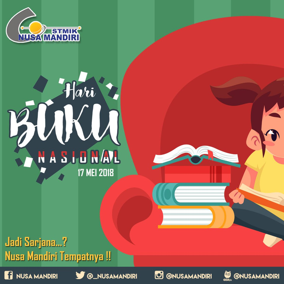 Nusa Mandiri على تويتر Buku Adalah Jendela Dunia Yuk Perbanyak