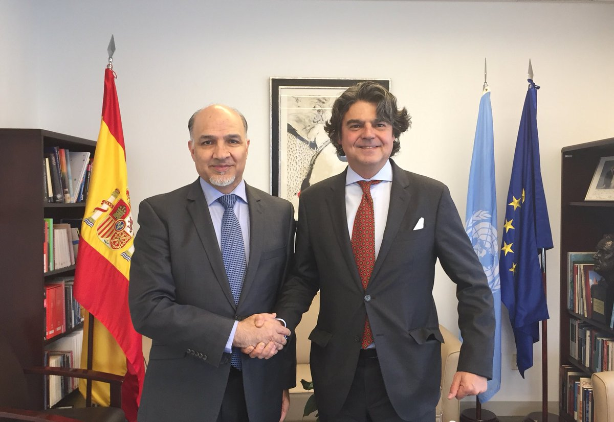 Congratulated Ambassador Jorge Moragas Sanchez on his appointment as new Permanent Representative of #Spain to the #UnitedNations . Discussed bilateral relations and other issues of mutual interest. Spain is a great partner in the security & development of #Afghanistan