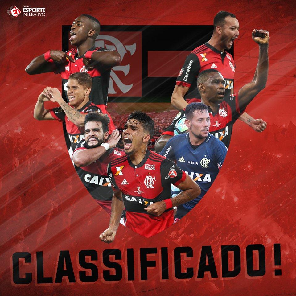 O Flamengo está CLASSIFICADO para as oitavas de final da Libertadores! Comemora, Nação! https://t.co/0GW2H2XoKi