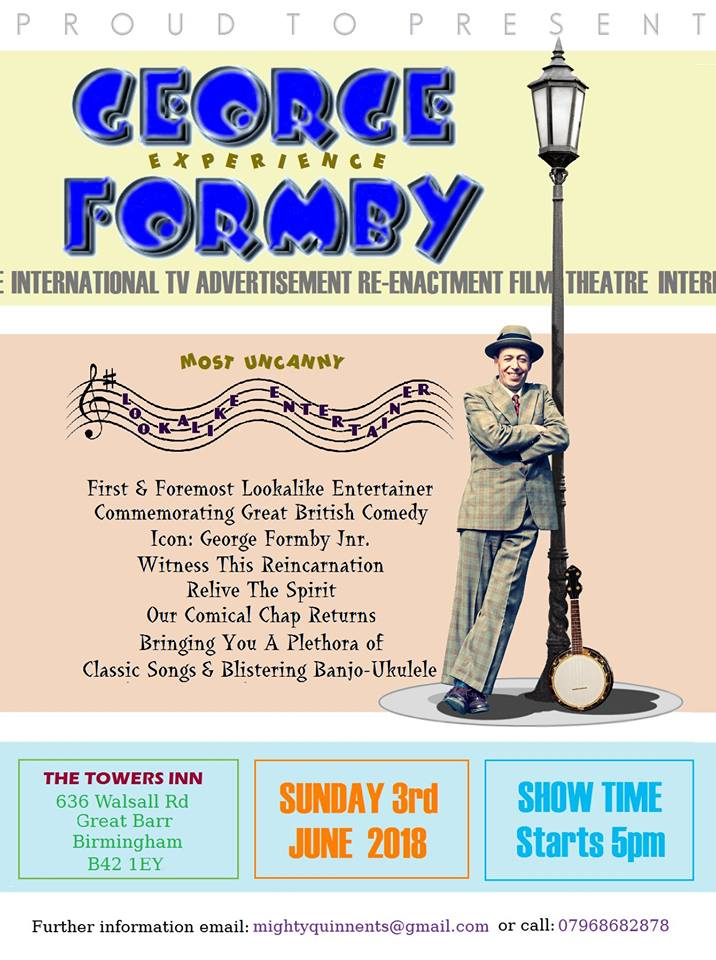 If you live in the #Birmingham area, check out my friend's event! Just click on poster for full details. He does a mean George Formby impression & he entertained evacuees at my own wartime events in Manchester.  #WW2 #GeorgeFormby #war #HomeFront<br>http://pic.twitter.com/I9QjfNiLWd