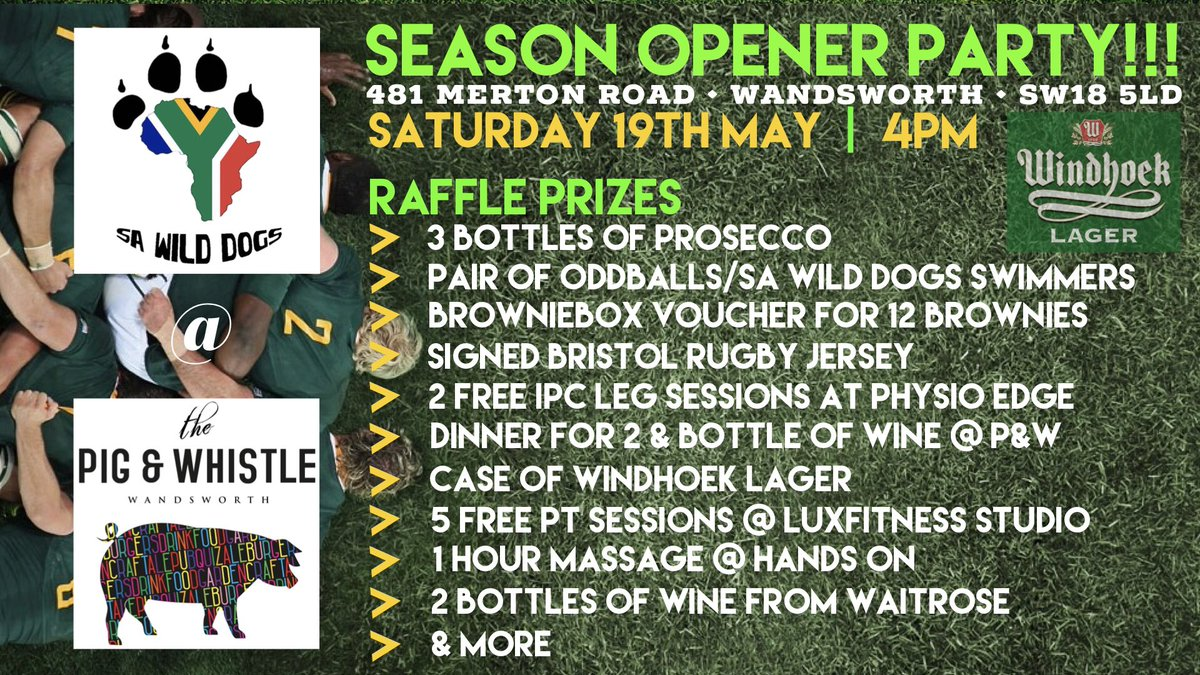 Ladies & Gents, The @PigandWhistleSW will be hosting our Season Opener Party this Saturday 19th May from 4pm! Make your way down to meet the boys, share a few beers & stand a chance of winning some great prizes!! 🎉🍻🏉🔥@Windhoekbeer_UK @physioedge @ExposeBet @Sable_Intl