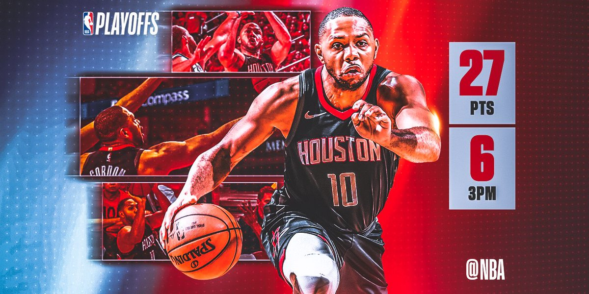 Eric Gordon drilled 6 triples en route to 27 PTS off the bench, helping the @HoustonRockets take Game 2 and even the WCF at 1-1! #SAPStatLineOfTheNight