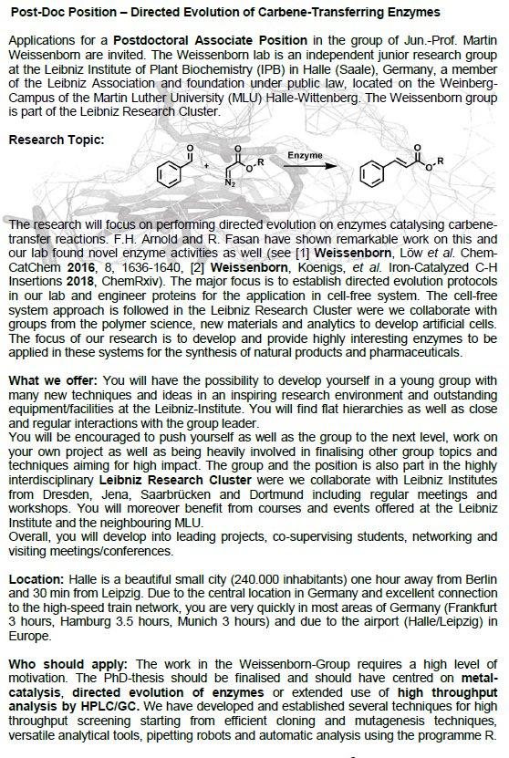 Inorganic Chemistry Postdoc Positions In Europe