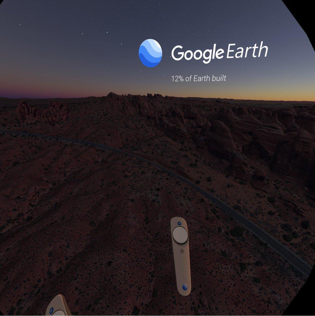 いまSteamでGoogleErathVRを落としてみた。やばい。本当にやばいこんなやばいものを体験していない人が多いのがやばい。完全に神の視点で地球を自由に歩き回れる。時間(太陽軌道を)も操れるしストリートビューも使える。画像添付してもなかなかわかってもらいな気がするが感動を伝えたい…。#VR