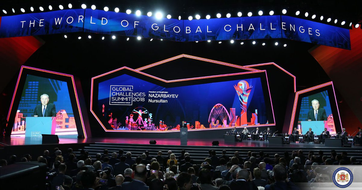 FM @JanelidzeMkh attended the opening ceremony of @Forum_Astana #GlobalChallengesSummit. Opening remarks were made by the President of #Kazakhstan Nursultan Nazarbayev  #AEF2018 <br>http://pic.twitter.com/YDPxDYCst8