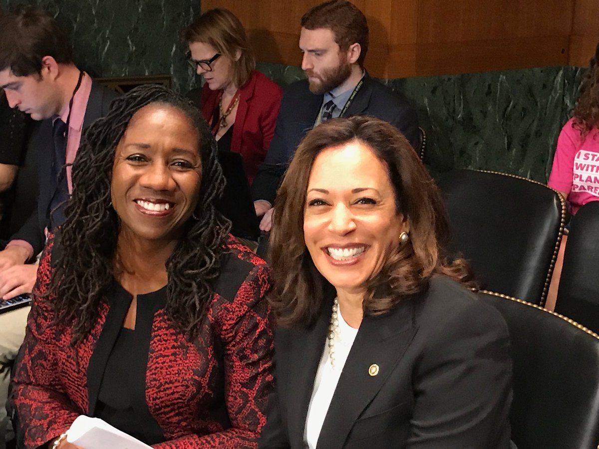 .@Sifill_LDF, Director-Counsel of @NAACP_LDF, which argued #BrownvBoard, conferring with @KamalaHarris before Senate Judiciary Committee votes on judicial nominees who refuse to say Brown correctly decided. Today is 64th anniversary of #BrownvBoard<br>http://pic.twitter.com/gJdQ1ZvufL