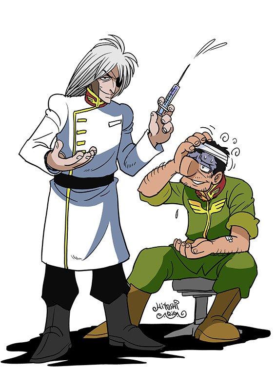 手塚キャラジオン兵シリーズ復刻版 「ドクターキリコ」 08小隊に出てきたジオン軍医の衣装(初代TVにジオン軍医いないので)  「先生、何を打ったんです?」 「フ… フ… フ… ただの鎮静剤さ」