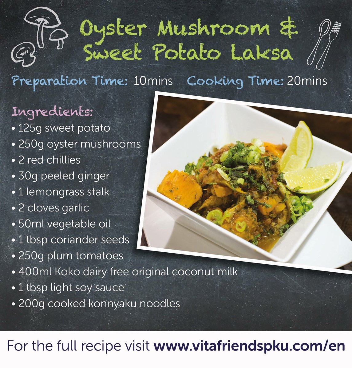 Fancy something a bit different for tea tonight? Give this Oyster Mushroom and Sweet Potato Laksa a go for the ultimate Indonesian Fakeaway! Recipe is here:  https://www. vitafriendspku.com/en/recipes/oys ter-mushroom-sweet-potato-laksa/ &nbsp; …  #pku #pkurecipes #FakeawayMay<br>http://pic.twitter.com/XCh7PEpJYi