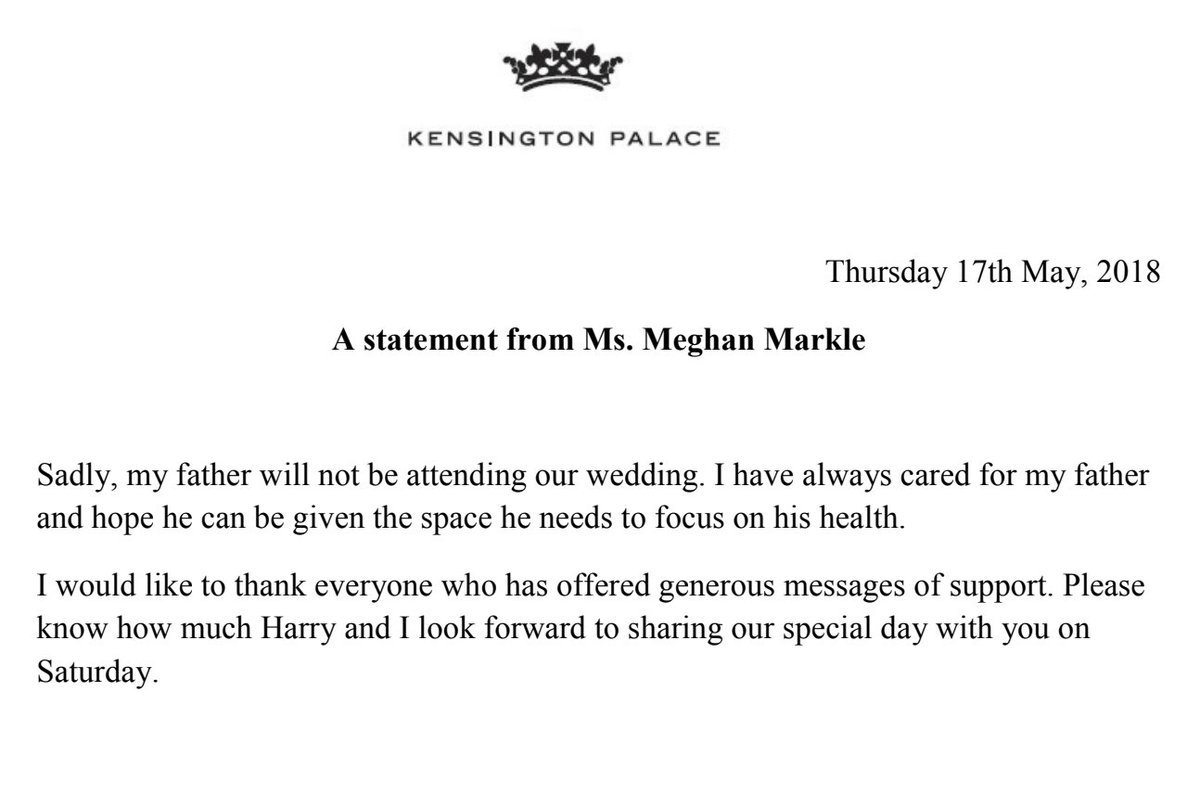 #RoyalWedding controversy,Meghan Markle releases statement confirming father's absence from the wedding..