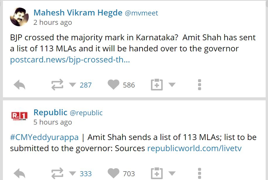 So two reliable channels, both Postcard News and Republic TV have reported that Amit Shah is submitting List with Support of 113 MLAs in #KarnatakaCMRace for #BJPChor100Crore…😛😝