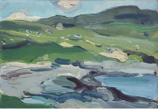 Barra (1903) by Samuel John Peploe 🌤️💙  The Scottish Colourist first visited the island of Barra in the Outer Hebrides in 1894 & this bright, beautiful painting was created during his final trip to the island in 1903. https://t.co/Lu4Wje2tPV