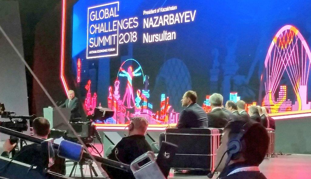 #astanaeconomicforum @Forum_Astana Pres. Nursultan Nazarbayev opens #GlobalChallengesSummit2018. Global trends to be discussed in #Astana: #digitalization, #RenewableEnergy, #migration... Check: State program &quot;Digital #Kazakhstan&quot; (creating country&#39;s IT #ecosystem) #GCSummit<br>http://pic.twitter.com/XfZAuBY3Jx
