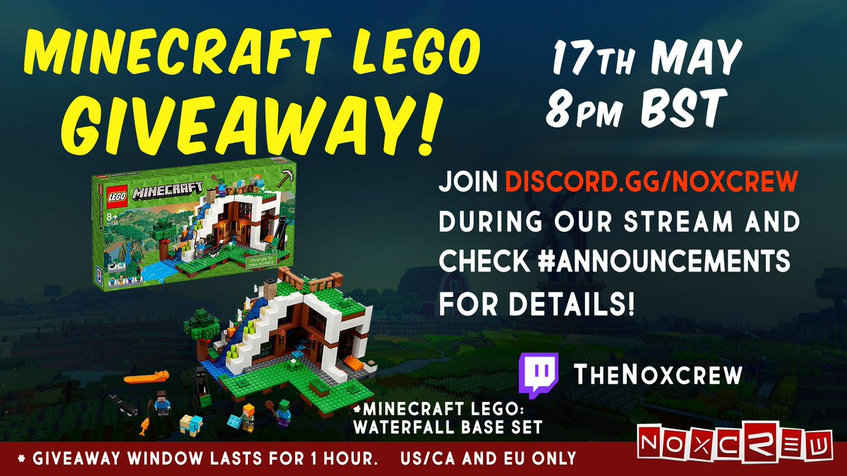 Noxcrew On Twitter Join Us Tonight For Avondales Lego Giveaway 21134 Minecraft The Waterfall Base Win A Set By Taking Part In Our Discord During Avons Stream 8pm Bst Following Instructions Announcements