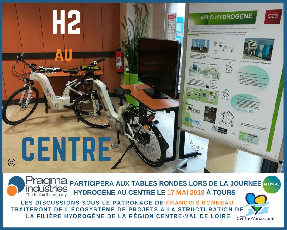 Aujourd'hui Pragma Industries participe à la journée Hydrogène au Centre qui a lieu au Lycée Descartes dans la @villedetours  #H2now #écomomilité #hydrogen #véloHydrogène #fuelCell #croissanceVerte #TransitionÉcologique