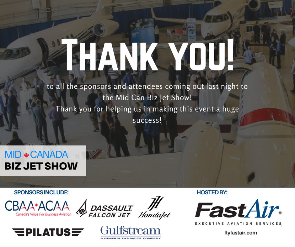 We would like to thank all the sponsors and attendees coming out last night to the Mid Can Biz Jet Show! Thank you for helping us in making this event a huge success!   #FlyFastAir #MidCanBizJetShow #Winnipeg #BizJet <br>http://pic.twitter.com/RmXj0mklDK