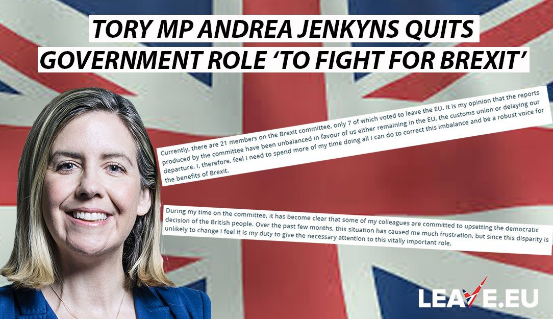 &#39;@AndreaJenkyns resigns from role at Ministry of Housing to spend more time being &quot;a robust voice for the benefits of Brexit&quot; and claims many members of the Brexit SelCom are &quot;committed to upsetting the democratic decision of the British people&quot;.     https://www. andreajenkyns.co.uk/news/my-decisi on-resign-my-pps-role-government &nbsp; … <br>http://pic.twitter.com/wXpcHhcZLN