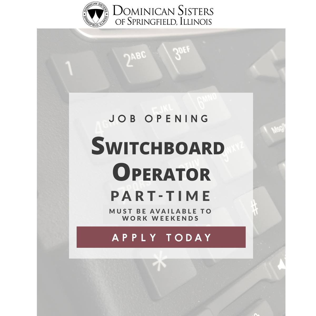 #Employment Opportunity!  Switchboard Operator – Part-Time, must be available to work weekends.   Click here for more details and how to apply: springfieldop.org/join-us-2/empl…  #job #careers