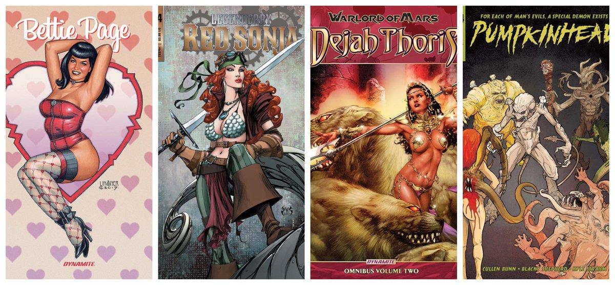 New @DynamiteComics available @comiXology bit.ly/2J3MBph  Bettie Page In Hollywood bit.ly/2kip0Dm  Legenderry: Red Sonja #4 bit.ly/2kip1ao  Pumpkinhead #4 bit.ly/2J1dOsB  Warlord Of Mars: Dejah Thoris Omni Vol. 2 bit.ly/2IZWOTt