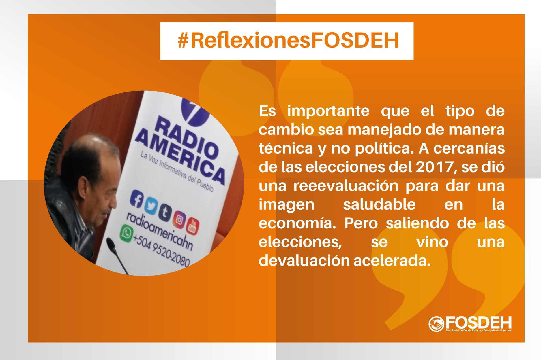 #ReflexionesFosdeh En #Honduras es importante que el tipo de cambio sea manejado de manera técnica y no política. https://t.co/k8va1KqLsD