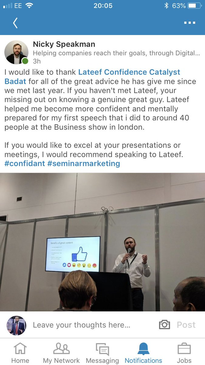 Always nice to get FAB testimonials such as this.. from Nicky Speakman @CodeGalaxyUK   #testimonial #makingadifference #publicspeaking #presentation #confidence #technique #beheard #beremembered #beawesome #lateefbadat #confidencebooster #pitching #presenting #publicspeaking <br>http://pic.twitter.com/1hhU6Qno9q