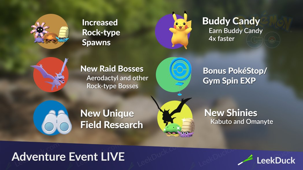The Adventure Event ends on June 5th.  Shiny Kabuto and Omanyte have both been spotted.  Shiny Aerodactyl is a possibility but unconfirmed right now. <br>http://pic.twitter.com/cBlLqTZcPb