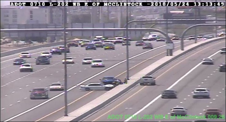 L-202 Red Mountain eastbound at McClintock: A crash is blocking the HOV lane. #PhxTraffic