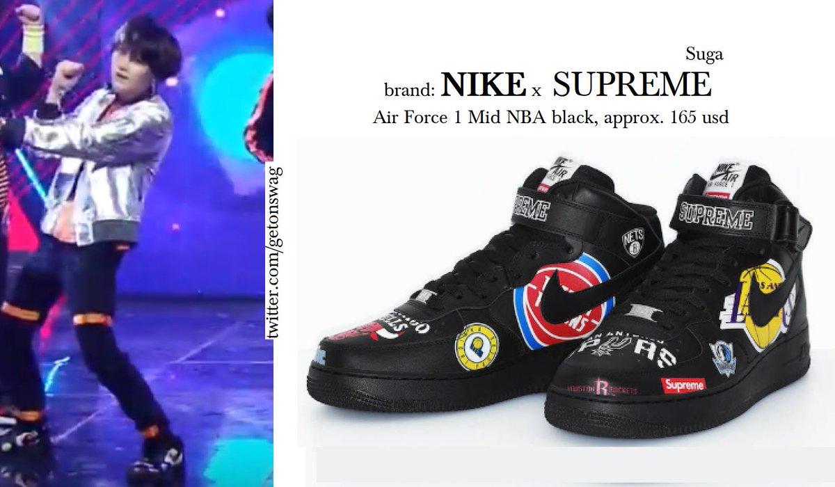 designer fashion d7cb2 389f0 180524 mnet comeback show   SUGA  SUGA  BTS  방탄소년단  민윤기   Supreme Nike Air  Force 1 Mid NBA blackpic.twitter.com UUoc14moCr