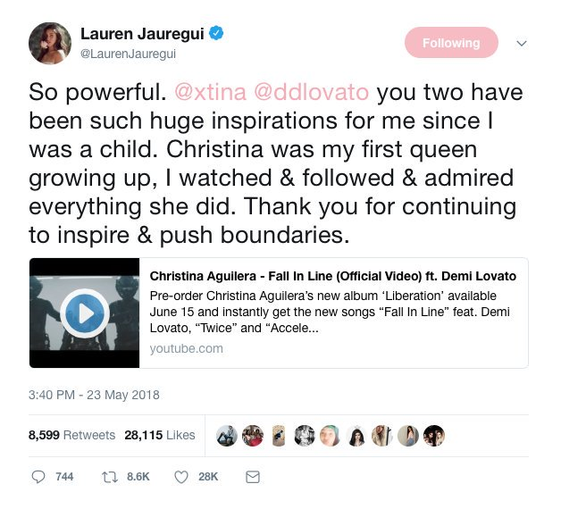 .@LaurenJauregui gives praise to @Xtina and @DDLovato on Twitter: &quot;You two have been such huge inspirations for me since I was a child.&quot; #FallInLine <br>http://pic.twitter.com/fEablQ9nTI