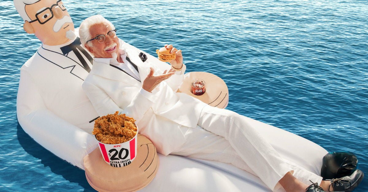 KFC Is Giving Away Colonel Sanders Pool Floaties — This is Not a Drill bit.ly/2LqW9Je