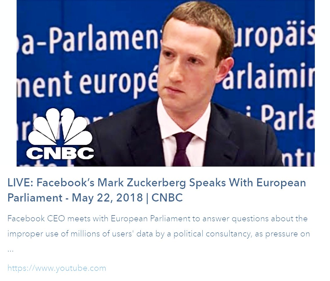 #DataPrivacy &amp; #GDPR #Facebook&#39;s Mark Zuckerberg Speaks w/ #EuropeanParliament | May 22nd  http:// bit.ly/2GOU2LE  &nbsp;    . #riskassessment #eudatap #infosec #datasec #eugdpr #thirdpartyrisk #tprm #regtech #vrm #erm #cio #ciso #cso #bigdata #pii #regulation #grc #dataprotection #cnbc<br>http://pic.twitter.com/sannD4Uu0c