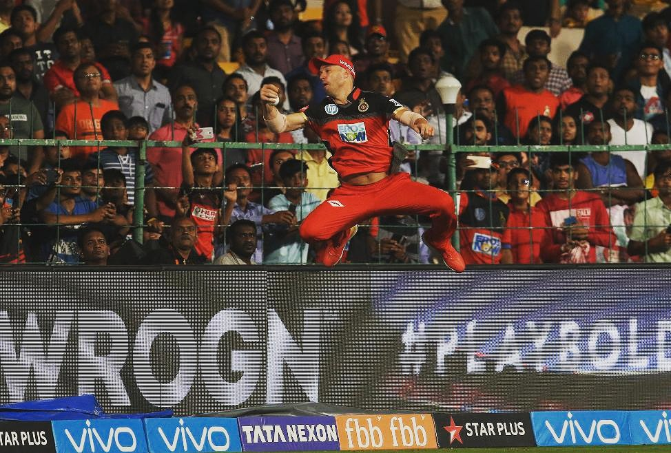 Saw #SpiderMan Live today! 😮 @abdevilliers17 #RCBvsSRH #IPL2018