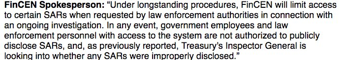 New statement from FinCEN spox - it does limit access to SARs in ongoing investigations https://t.co/aoeAwggB34