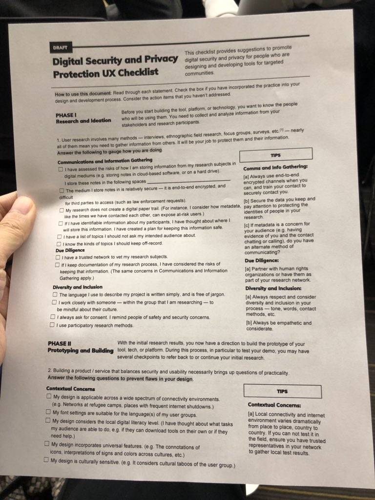 A UX checklist for digital security and privacy protection. Useful for those developing tools and systems for targeted communities: #rightscon #RightsCon2018<br>http://pic.twitter.com/6wlBbHIMq0